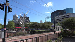 USA Virginia Norfolk public transport tram goes to MacArthur Square station Footage