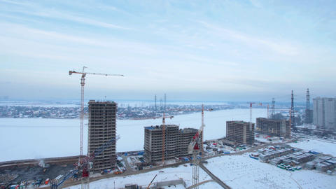 Tower cranes at the construction site Footage