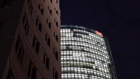Potsdamer platz buildings at night in Berlin Footage