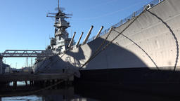 USA Virginia Norfolk long shadows on USS Wisconsin museum ship Footage