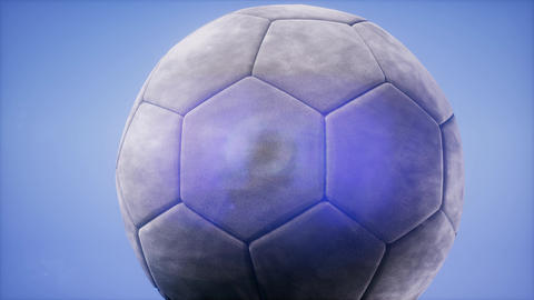 4K Super slow motion flying soccer ball on blue sky background 영상물