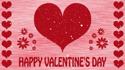 Decorative red and white video with hearts and text Happy Valentine's Day Animación