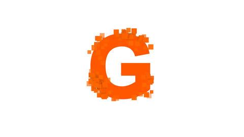 latin letter G from letters of different colors appears behind small squares Animation