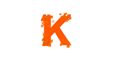 latin letter K from letters of different colors appears behind small squares Animation