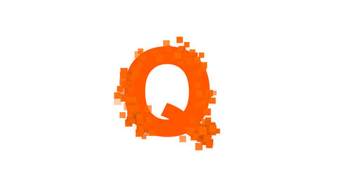 latin letter Q from letters of different colors appears behind small squares Animation
