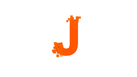 latin letter J from letters of different colors appears behind small squares Animation