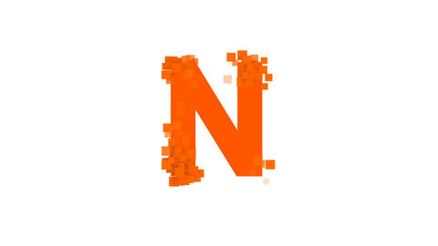 latin letter N from letters of different colors appears behind small squares Animation