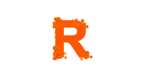 latin letter R from letters of different colors appears behind small squares Animation