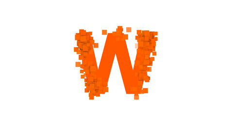 latin letter W from letters of different colors appears behind small squares Animation