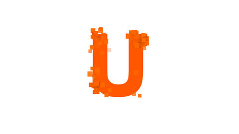 latin letter U from letters of different colors appears behind small squares Animation