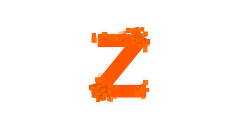 latin letter Z from letters of different colors appears behind small squares Animation