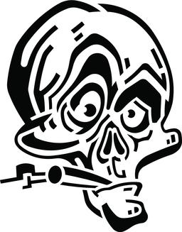 Funny black and white skull with cigarette ベクター
