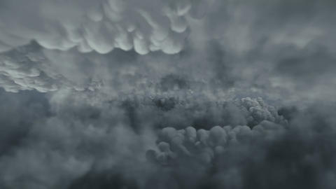 Flight over the thundering clouds Animation