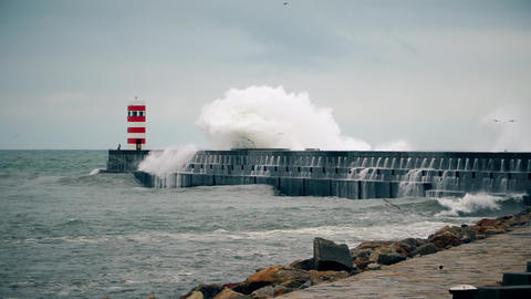 Storm on the Atlantic coast near the new lighthouse, Porto, Portugal Footage