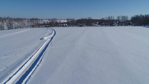 Aerial View Over the Fields in Winter Footage