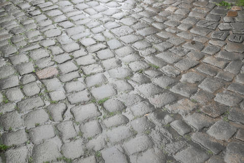 Floor of paving stones wet from the rain Photo