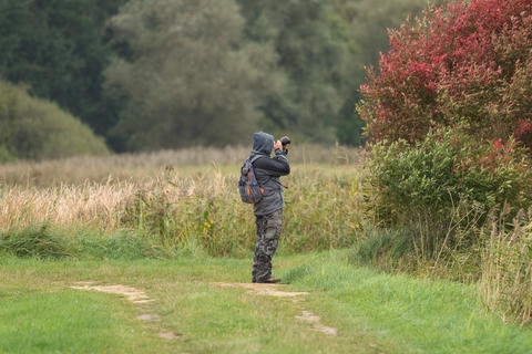 A man photographs something and stands in a meadow Photo