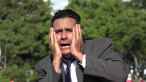 C0098 terrified fearful hispanic business man Live Action