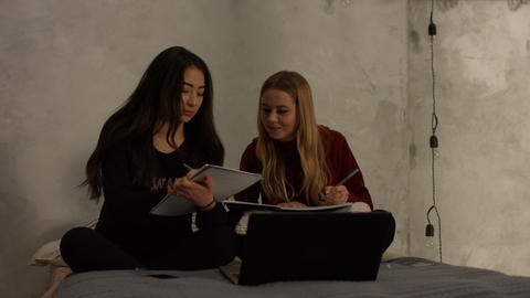 Cute high school girls studying together at home Live Action