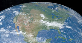 North america continent in planet earth gyrating from the outer space Animation