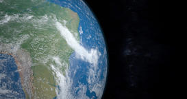 South america continent in planet earth gyrating from the outer space Animation