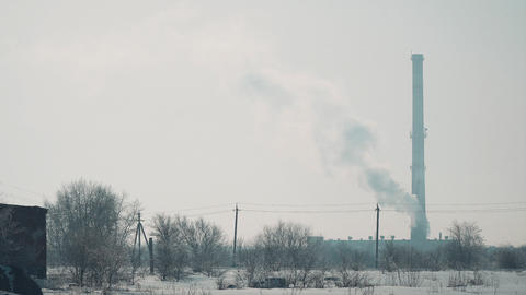 View of factory chimney Footage