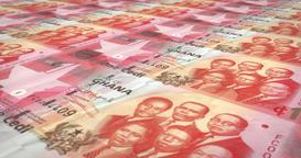 Banknotes of one Ghanaian cedi of Ghana, cash money, loop Animation
