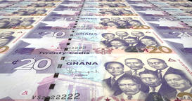 Banknotes of twenty Ghanaian cedis of Ghana, cash money, loop Animation