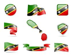 Saint Kitts and Nevis Flags Collection Vector