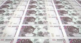Banknotes of two hundred salvadoran colon of El Salvador, cash money, loop Animation