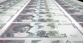 Banknotes of twenty five salvadoran colon of El Salvador, cash money, loop Animation