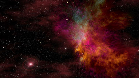 Universe, Beautiful Colorful Space Nebula and Stars Animation