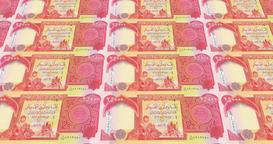 Banknotes of twenty five thousand dinars iraq rolling, cash money, loop Animation