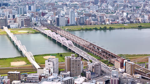 aerial timelapse view from Umeda Sky Building on the Yodo River, Osaka, Japan 영상물