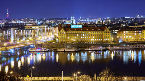 Panoramic view of Prague cityscape at night 画像