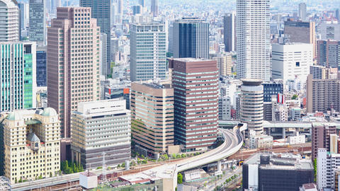aerial view of Umeda District, Osaka, Japan Footage