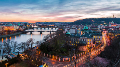 aerial view of bridges in Prague, day to night timelapse Footage
