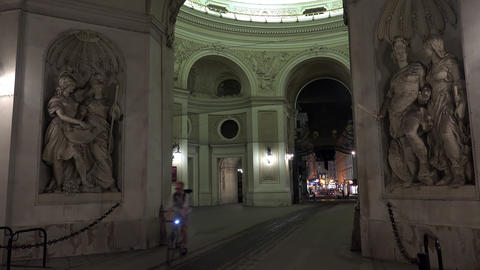 Rotunda of the Imperial Palace Hofburg. Night, Vienna. Austria. 4K Footage
