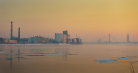Winter golden hour over the Port of Riga Footage