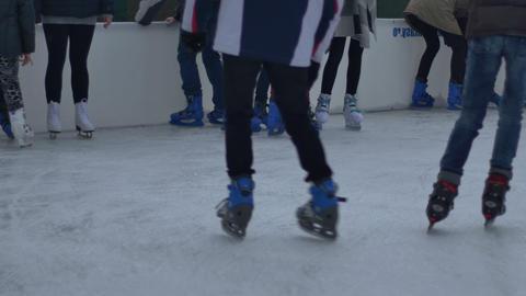 Teenagers Ice Skaters Resting Footage