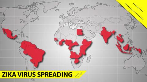Zika virus spreads world map illustration Footage