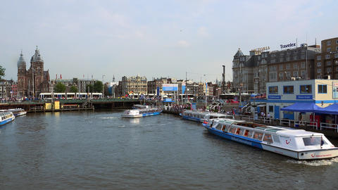 Canal Cruises starting at Central station City of Amsterdam Footage