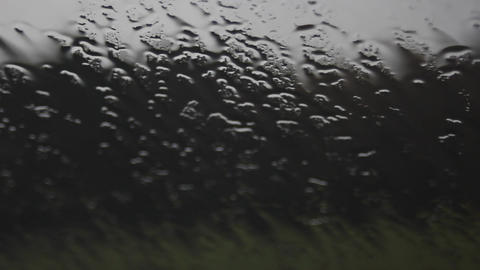 Raindrops Running Down Car Windscreen Live Action