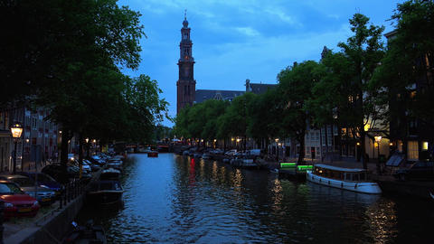 The Canals of Amsterdam typical view by night City of Amsterdam Footage