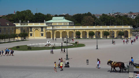 Square and fountains at the Schonbrunn Palace.Vienna, Austria. 4K Footage