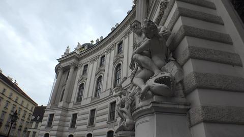 A magnificent sculpture at the Hofburg gate. Vienna, Austria. 4K Footage