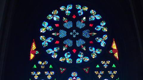 Stained-glass window in St. Stephen's Cathedral. Stephansdom. Vienna, Austria. Footage