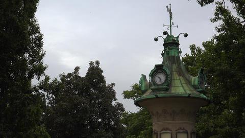 Street clock. Vienna, Austria. 4K Footage