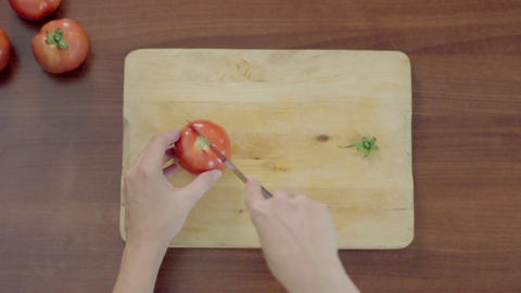 Bird's eye view, close-up of professional cook chopping… Stock Video Footage
