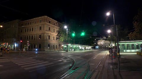 Vienna. Old Wien. Architecture, old houses, streets and neighborhoods. Night. Footage